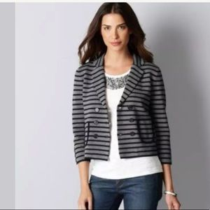 LOFT STRIPED DOUBLE-BREASTED SWEATER BLAZER JACKET
